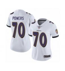 Women's Baltimore Ravens #70 Ben Powers White Vapor Untouchable Limited Player Football Jersey