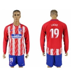 Atletico Madrid #19 Lucas Home Long Sleeves Soccer Club Jersey