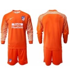 Atletico Madrid Blank Orange Goalkeeper Long Sleeves Soccer Club Jersey