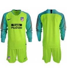 Atletico Madrid Blank Shiny Green Goalkeeper Long Sleeves Soccer Club Jersey