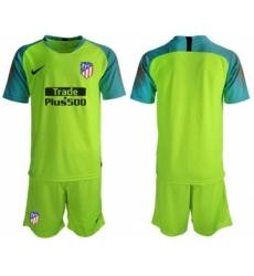 Atletico Madrid Blank Shiny Green Goalkeeper Soccer Club Jersey