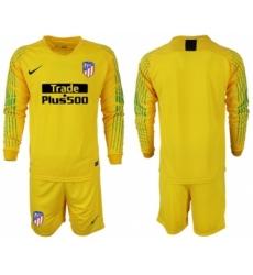 Atletico Madrid Blank Yellow Goalkeeper Long Sleeves Soccer Club Jersey
