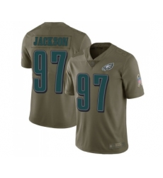 Youth Philadelphia Eagles #97 Malik Jackson Limited Olive 2017 Salute to Service Football Jersey