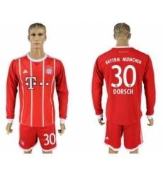 Bayern Munchen #30 Dorsch Home Long Sleeves Soccer Club Jersey