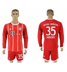 Bayern Munchen #35 Sanches Home Long Sleeves Soccer Club Jersey