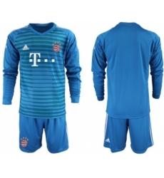 Bayern Munchen Blank Blue Goalkeeper Long Sleeves Soccer Club Jersey