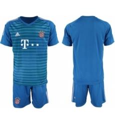 Bayern Munchen Blank Blue Goalkeeper Soccer Club Jersey