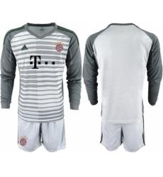 Bayern Munchen Blank Grey Goalkeeper Long Sleeves Soccer Club Jersey