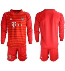 Bayern Munchen Blank Red Goalkeeper Long Sleeves Soccer Club Jersey
