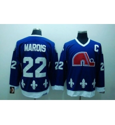 Nordiques #22 Mario Marois Stitched CCM Throwback Blue NHL Jersey