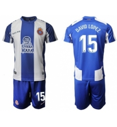Espanyol #15 David Lopez Home Soccer Club Jersey