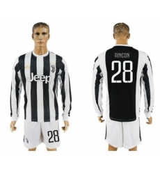 Juventus #28 Rincon Home Long Sleeves Soccer Club Jersey