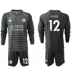 Leicester City #12 Ward Black Goalkeeper Long Sleeves Soccer Club Jersey
