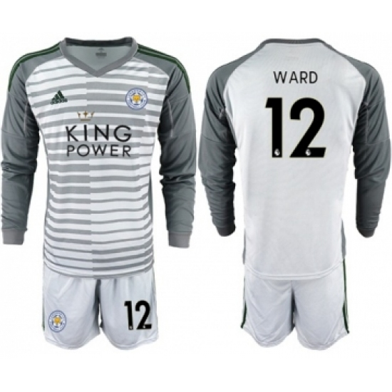 Leicester City #12 Ward Grey Goalkeeper Long Sleeves Soccer Club Jersey