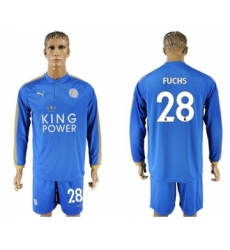 Leicester City #28 Fuchs Home Long Sleeves Soccer Club Jersey