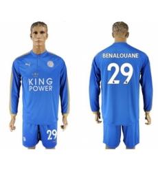 Leicester City #29 Benalouane Home Long Sleeves Soccer Club Jersey