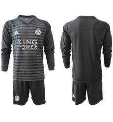 Leicester City Blank Black Goalkeeper Long Sleeves Soccer Club Jersey