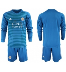 Leicester City Blank Blue Goalkeeper Long Sleeves Soccer Club Jersey