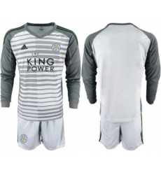 Leicester City Blank Grey Goalkeeper Long Sleeves Soccer Club Jersey