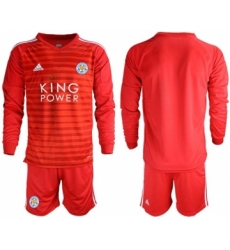 Leicester City Blank Red Goalkeeper Long Sleeves Soccer Club Jersey