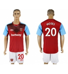 West Ham United #20 Moses Home Soccer Club Jersey