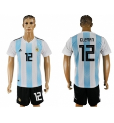 Argentina #12 Guzman Home Soccer Country Jersey