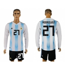 Argentina #27 Rodriguez Home Long Sleeves Soccer Country Jersey