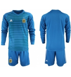 Argentina Blank Blue Long Sleeves Goalkeeper Soccer Country Jersey