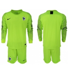 France Blank Shiny Green Goalkeeper Long Sleeves Soccer Country Jersey