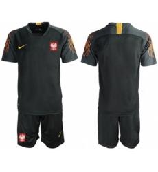 Poland Blank Black Goalkeeper Soccer Country Jersey