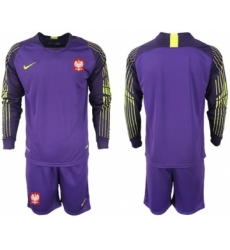 Poland Blank Purple Goalkeeper Long Sleeves Soccer Country Jersey