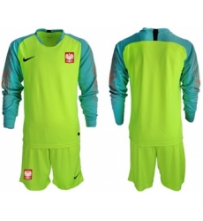 Poland Blank Shiny Green Goalkeeper Long Sleeves Soccer Country Jersey