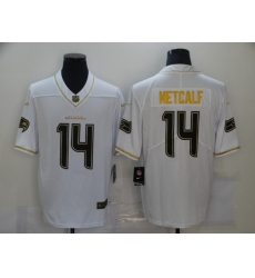 Men's Seattle Seahawks #14 D.K. Metcalf White Olive Gold Nike Limited Jersey