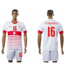 Switzerland #16 Fernandes Away Soccer Country Jersey