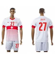 Switzerland #27 Zuffi Away Soccer Country Jersey