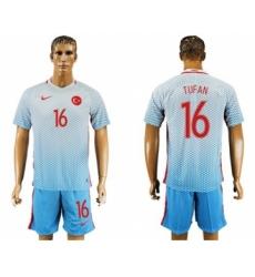 Turkey #16 Tufan Away Soccer Country Jersey