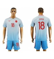 Turkey #18 Erkin Away Soccer Country Jersey