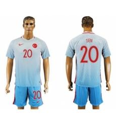 Turkey #20 Sen Away Soccer Country Jersey