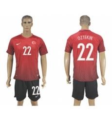 Turkey #22 Oztekin Home Soccer Country Jersey
