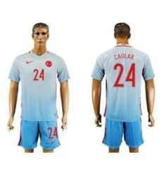 Turkey #24 Caglar Away Soccer Country Jersey