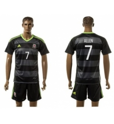 Wales #7 Allen Black Away Soccer Club Jersey