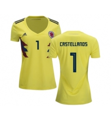Women's Colombia #1 Castellanos Home Soccer Country Jersey