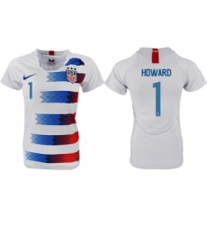 Women's USA #1 Howard Home Soccer Country Jersey