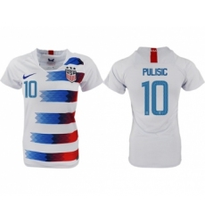 Women's USA #10 Pulisic Home Soccer Country Jersey