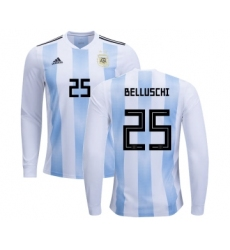 Argentina #25 Belluschi Home Long Sleeves Kid Soccer Country Jersey