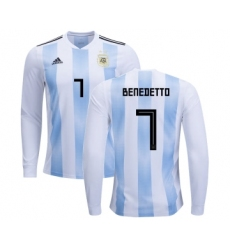Argentina #7 Benedetto Home Long Sleeves Kid Soccer Country Jersey