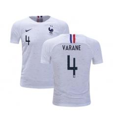 France #4 Varane Away Kid Soccer Country Jersey