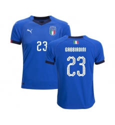 Italy #23 Gabbiadini Home Kid Soccer Country Jersey