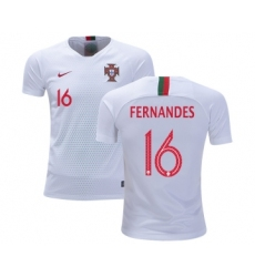 Portugal #16 Fernandes Away Kid Soccer Country Jersey