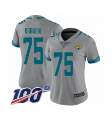 Women's Jacksonville Jaguars #75 Cedric Ogbuehi Silver Inverted Legend Limited 100th Season Football Jersey